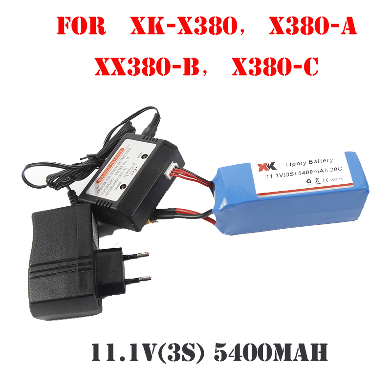 New 11.1V 3S 5400mAh battery + Balance Charger for XK DETECT X380 X380A X380B X380C 4CH 6-Axis RC Quadcopter Quad Copter RTF extra spare 5400mah 11 1v 20c battery fitting for xk detect x380 remote control quadcopter