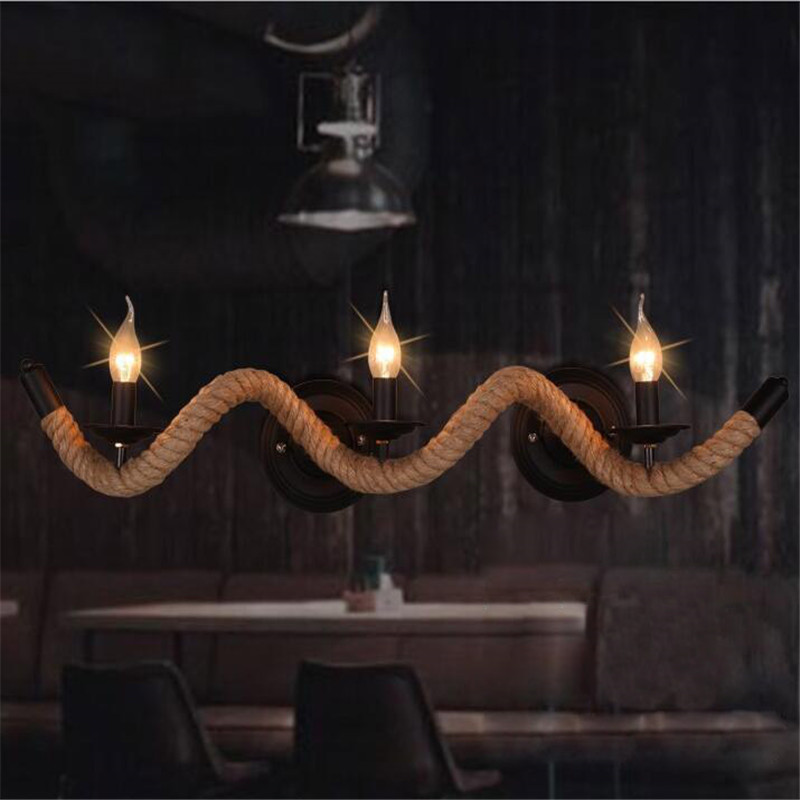 ФОТО Vintage Loft Hemp Rope Wall Lamp With Three Heads E14 Candle Bulb AC 90V-260V For Art Gallery Bar Restaurant Cafe Home Light