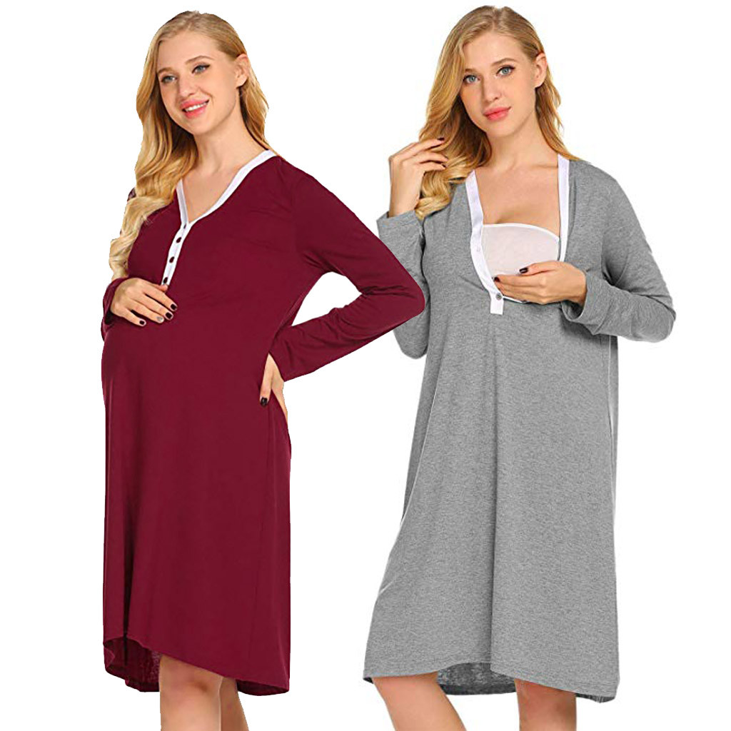 Clothing, Shoes & Accessories New Fashion Short Sleeve Maternity Pregnancy Nursing Breastfeeding Nightdress Nightie Button Beautiful In Colour