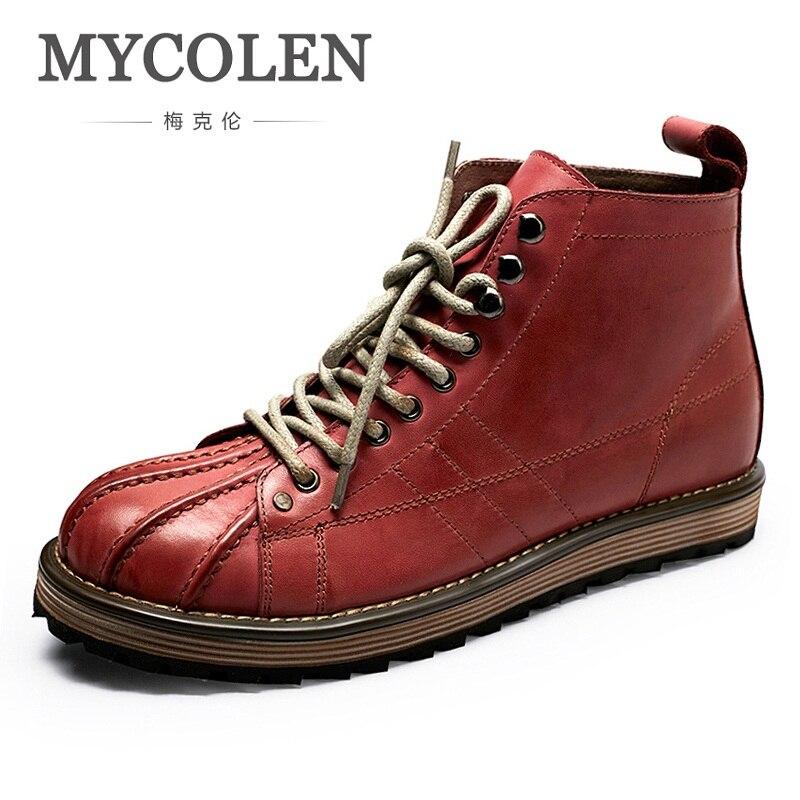MYCOLEN gran venta zapatos de invierno de hombre de cuero genuino de marca hechos a mano botas de nieve de invierno de encaje para hombre botas Zapatos
