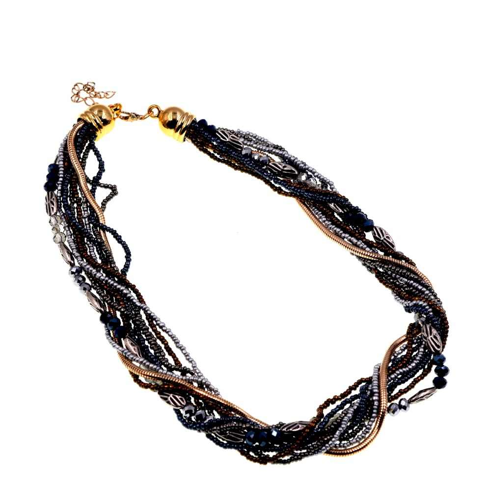 Free Shipping NEW!! Brown Black Mix Czech Glass Seed Bead Choker Necklace Necklaces & Pendants Bijoux