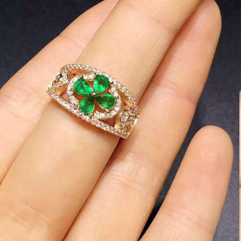цены Sale New Anillos Qi Xuan_Trendy Jewelry_Colombia Green Stones Fashion Rings_Plated Rose Gold Woman Rings_Factory Directly Sales