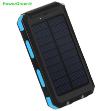 PowerGreen Powerbank 10000mAh External Solar Battery Charger with Flashlight & Carabiner for Mobile Phones