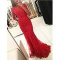 Metade Mangas Vestidos de Noite 2016 Vermelho Dubai Abaya Sereia Colher Apliques Frisado Vestido Da Celebridade Vestido Formal Vestido De Festa