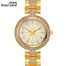 Dreamcarnival 1989 Wrist Watch for Women Luxury Quartz Crystal Dial Alloy Bracelet Fashion IP Rhodium Gold Color Wholesale A8353