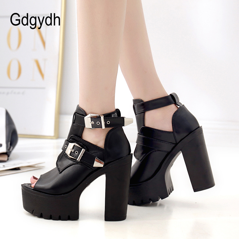 Buckle New Shoes Sexy Donna Heels Summer Shoes Ladies Black Fashion Toe Leather Gdgydh Platform 2019 Spring Peep Black nwY6vq4xx