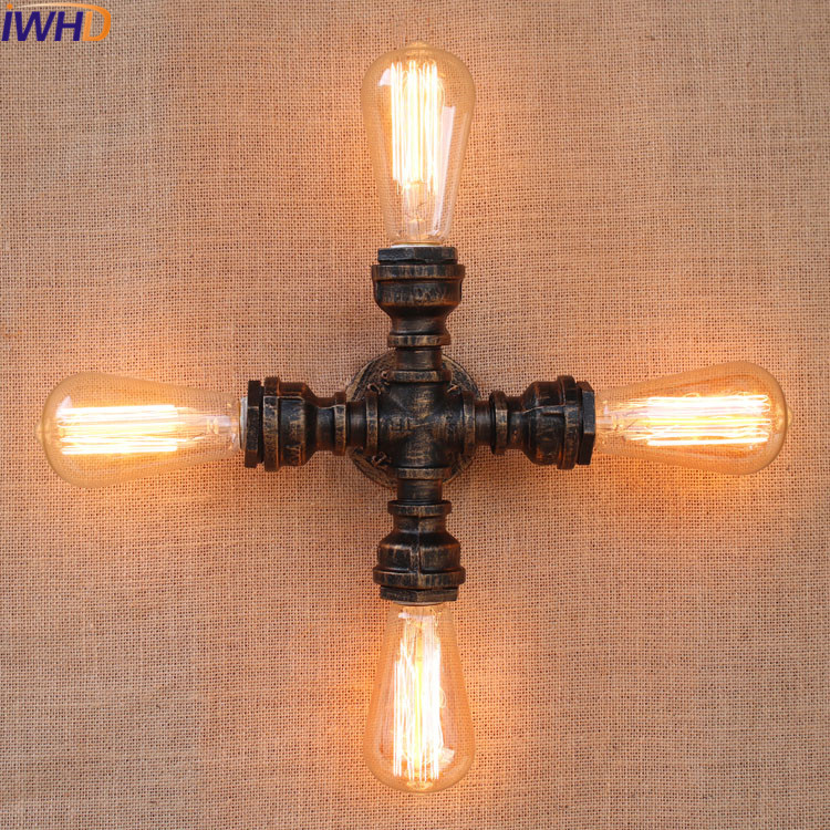 Loft Retro Industrial Wind Bar Coffee Shop Creative American Restaurant Iron Staircase Wall Light Water Pipe Wall Lamp Lamparas