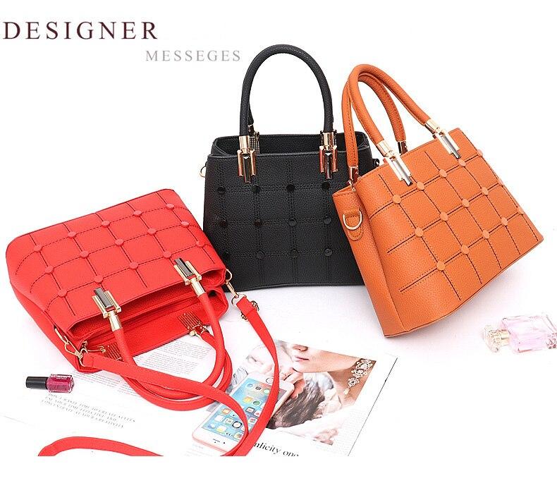 LEFTSIDE Fasion Women Brand New Design Handbag Lattice Rivet Tote ... bf564635251ba