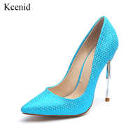Kcenid Metal high heels women pumps fashion pattern pointed toe shoes shallow footwear party wedding ladies shoes big size 33-45