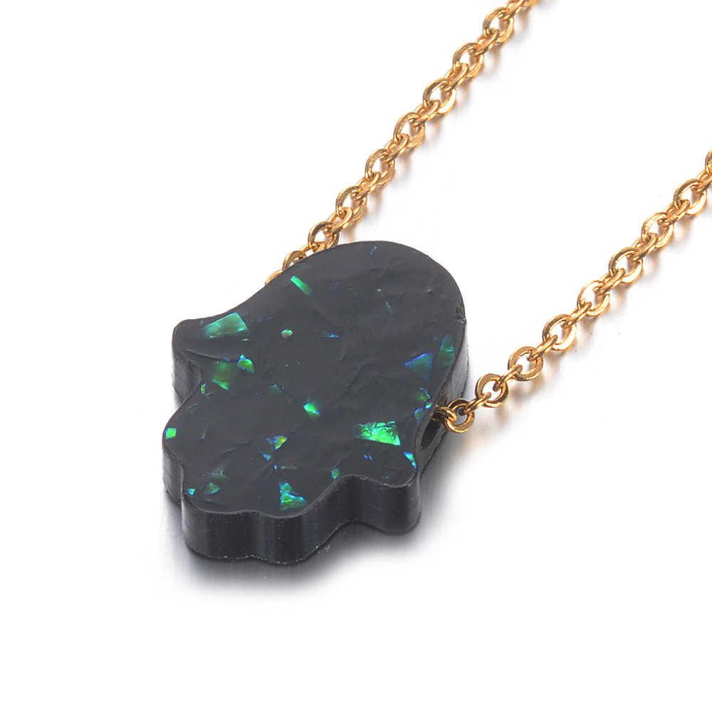 Wiele kolorów Hamsa Opal kamień wisiorek naszyjnik Fatima rąk 100% ze stali nierdzewnej złoty choker łańcuszek prezenty Femme