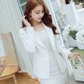 Blazer branco 2016 New Long-sleeved Slim Mulheres Blazers E Jaquetas Pequenas Terno Versão Blazer Branco Fino Feminino Mais tamanho