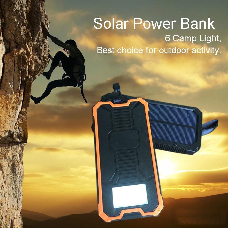bilder für Mi 10000 mAh Solar Energienbank Bateria Externe Solar-ladegerät Reisepower Tragbare Solar Panel mit Led-leuchten für Xiaomi/S8