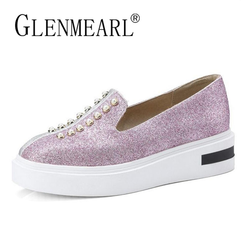 Platform Women Loafers Flats Shoes Woman Brand Leather Thick Heels Single Casual Comfort Ladies Lazy Shoes Female Plus Size 43 hizcinth 2018 brand women shoes patent leather flat platform female single women s shoes students flats loafers zapatillas mujer