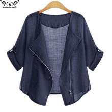 2017 high quality Summer Clothing Cardigans Casual Women's Blouses cotton Shirts for Women Fashion Plus Size zipper Kimonos Tops(China)