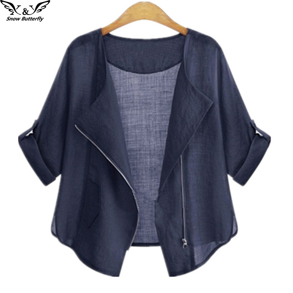 2019 High Quality Summer Clothing Cardigans Casual Women's Blouses Cotton Shirts For Women Fashion Plus Size Zipper Kimonos Tops To Produce An Effect Toward Clear Vision
