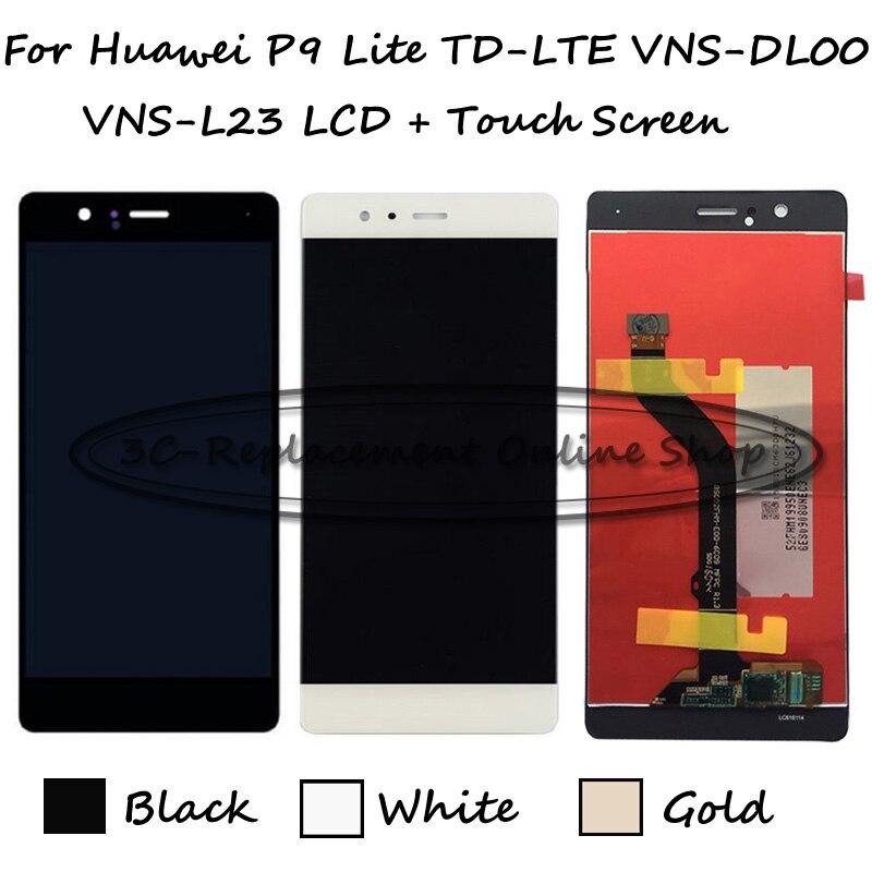 imágenes para Negro/blanco/oro para huawei p9 lite/huawei g9 vns-l21 vns-l22 vns-l31 vns-l53 pantalla lcd + pantalla táctil digitalizador asamblea