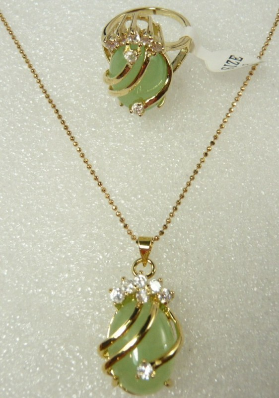 fine 18KGP green jade CZ pendant ring #6,7,8,9 set