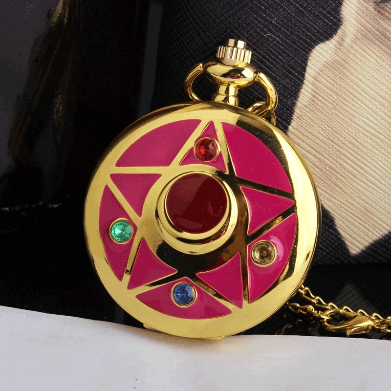 Colorful Crystal Case Watch Sailor Moon Anime Famous Cartoons Quartz Pocket Watch Necklace Chain Womens Lady Special Gifts