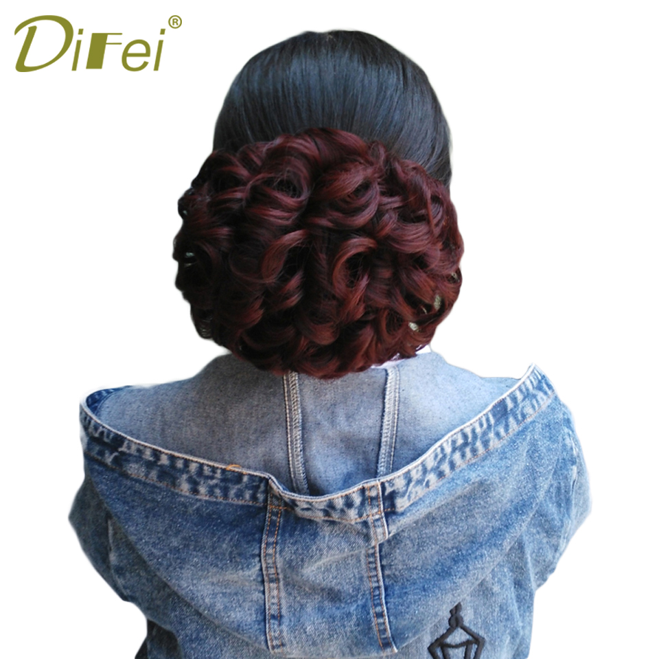 Curly Chignons Elastic Extensions Hair Synthetic Hair Ribbon Ponytail Hair High Temperature Fiber Chignons For Women DIFEI