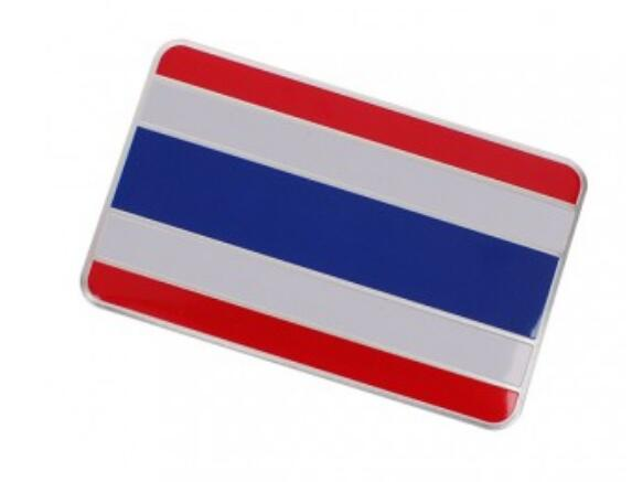 High quality 1pcs 80x50mm th flag aluminum alloy badge emblem car sticker thailand flag