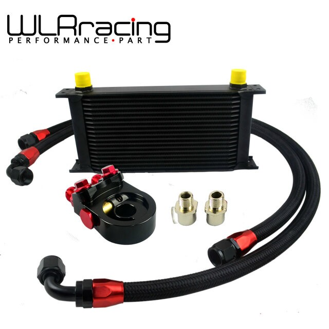 WLRING- Universal 19ROWS OIL COOLER ENGINE KIT + AN10 oil Sandwich Plate Adapte with Thermostat + 2PCS NYLON BRAIDED HOSE LINE