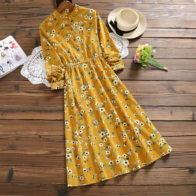 Yellow,Navy Blue Flower Vintage Dress 2018 New Women Full Sleeved Floral Print Corduroy Dresses Autumn Winter Mori Girl Vestidos