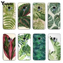 Yinuoda Tropical Leaves ดอกไม้ Mint Feather ป้องกันสำหรับ samsung S6 edge S8 S9 S7 S9Plus หมาย(China)