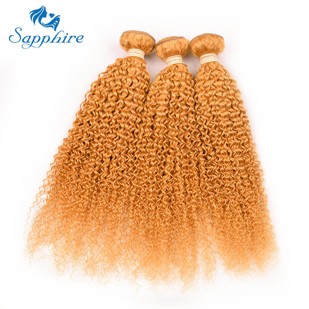 Sapphire Hair Brazilian Jerry Curly Hair Bundles 100g/PC 100% Human Hair Bundles 4pcs Remy Human Hair Extensions ORANGE Color