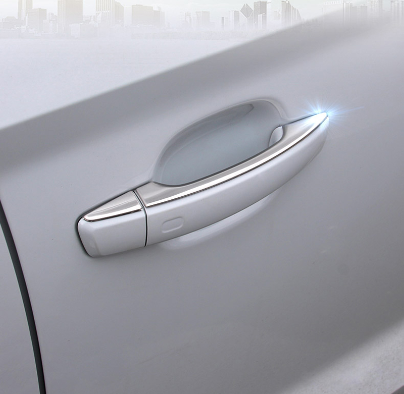 Exteriores de Aço inoxidável Guarnição Tampa Maçaneta Da Porta Lateral Adesivo Q2 8 pcs Para Audi 2017 2018