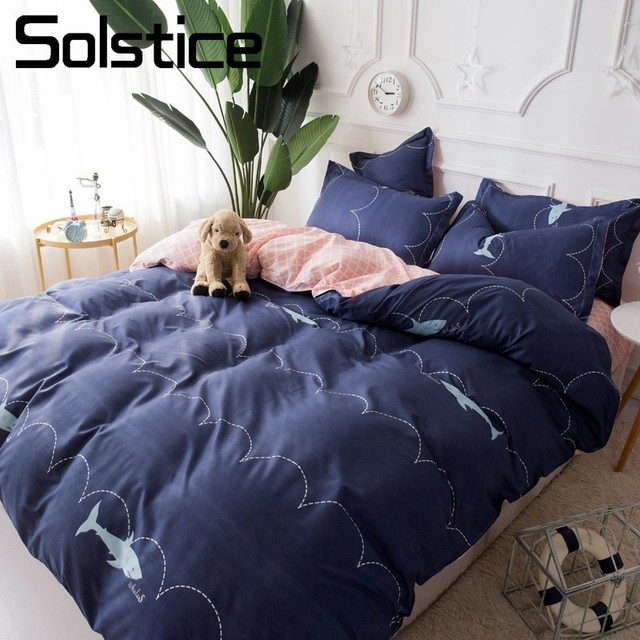 Solstice Home Textile Shark Wave Blue Bedding Set Girl Kid Adult Linens King Queen Single Duvet Cover Pillowcase Pink Flat Sheet