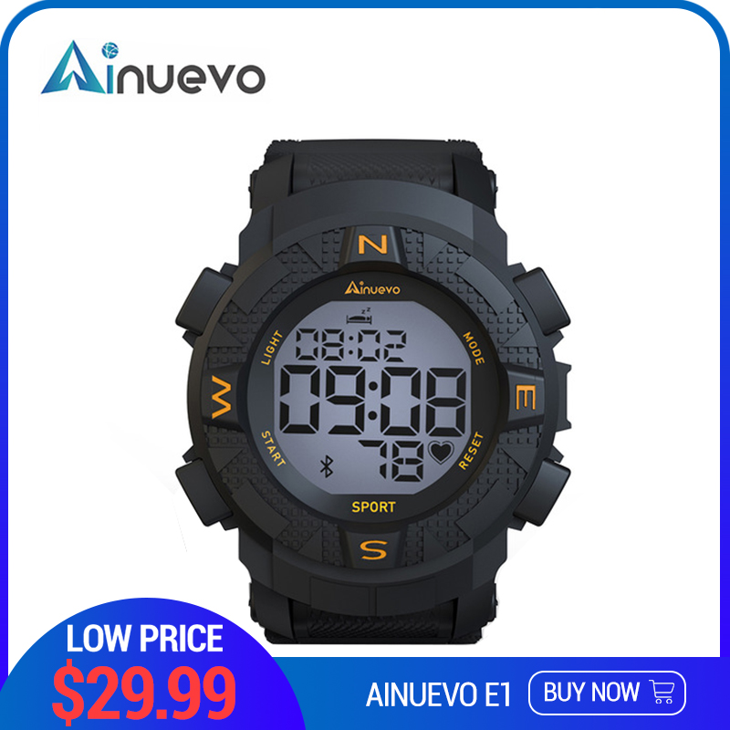 Ainuevo E1 Sport Smart Watch Man Bluetooth 4.0 3ATM Waterproof Continuous Heart Rate Monitoring Smart ReminderAinuevo E1 Sport Smart Watch Man Bluetooth 4.0 3ATM Waterproof Continuous Heart Rate Monitoring Smart Reminder