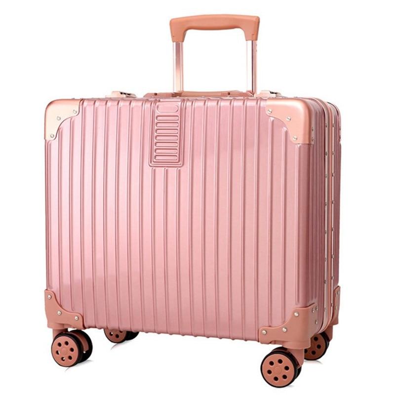 Aluminum frame+PC Vintage Suitcase With Wheels, 18 inch Business travel trolley case hardside Rolling box Luggage bag, TSA Lock