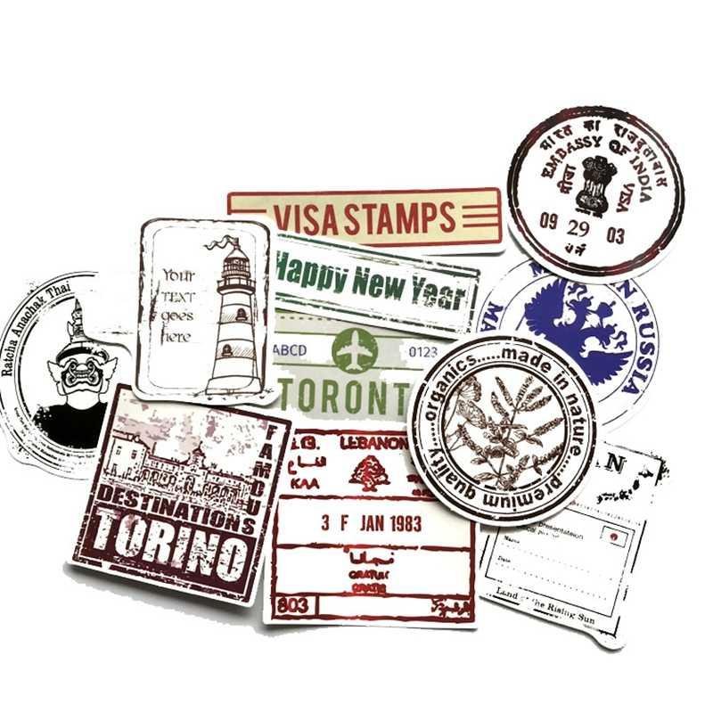 60 unids/bolsa Stamp Retro Stickers Pack álbum de recortes maleta Skateboard Laptop Racing moto Cool Graffiti pegatina impermeable juguete