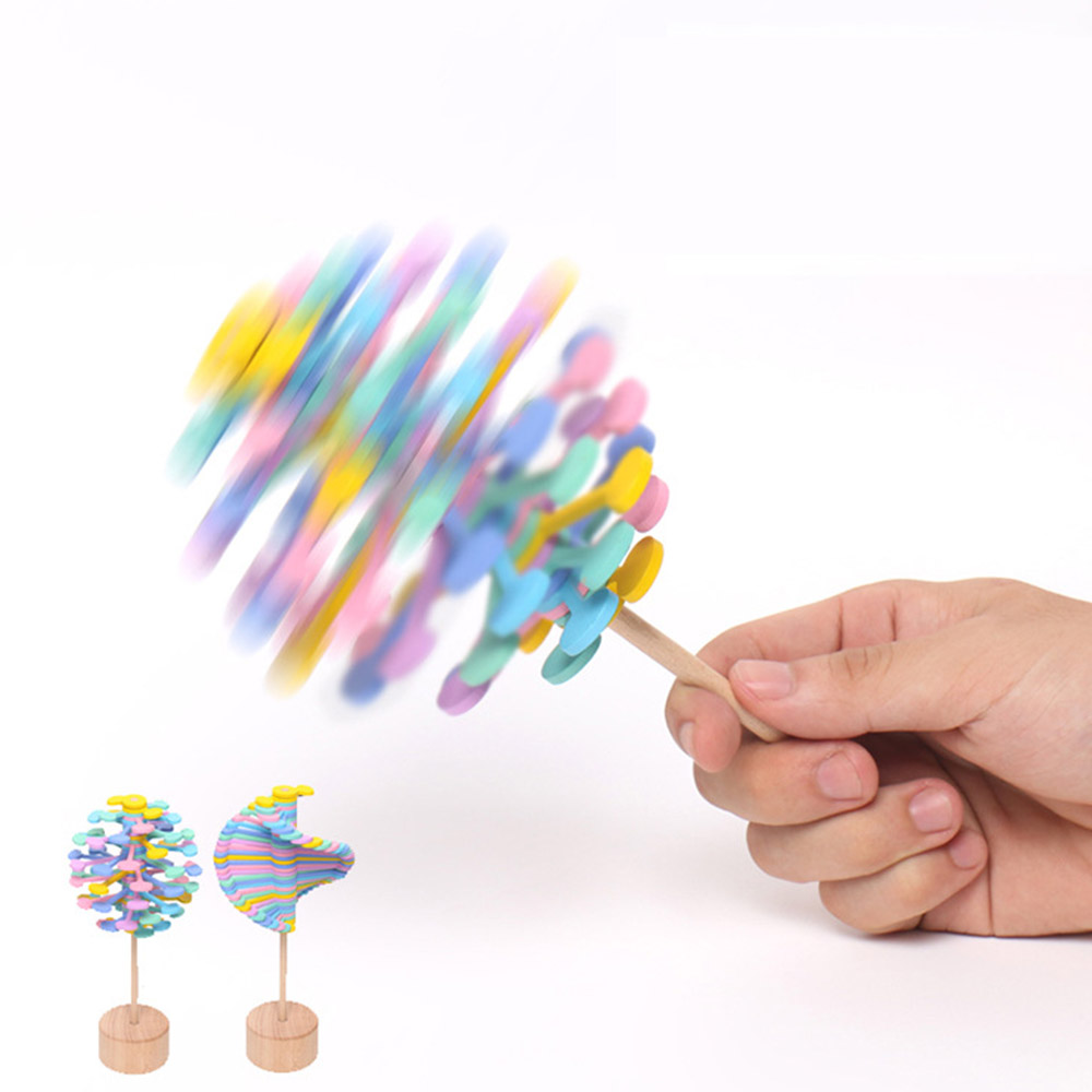 Wooden Helicone Magic Wand Stress Relief Toy Rotating Lollipop Creative Art Decor For Home Office School Decompression Boy Girls