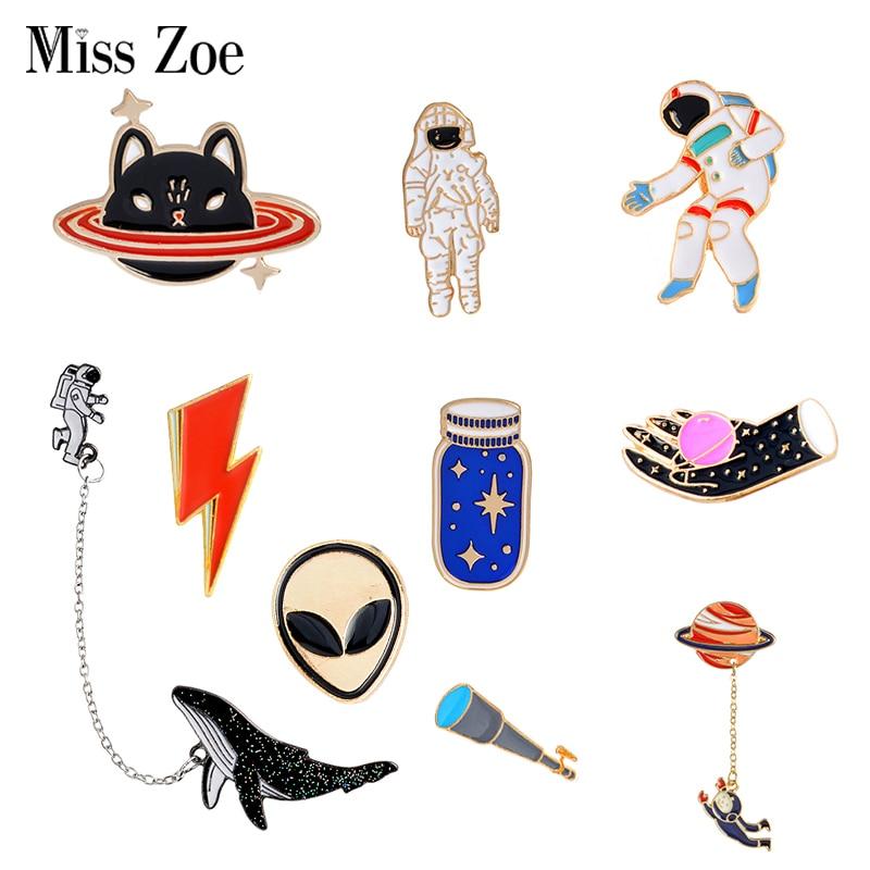 Bargain Price Space Travel Collection Enamel Pin Cartoon Astronaut Planet Star Brooch Lapel Pin Custom Badge Gift for Kids Girl handbag