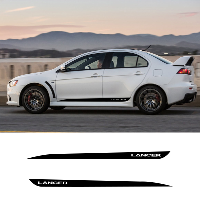 2 PCS Vinyl Side Stripes Skirt Graphics Auto Sticker Vehicle Decal For Mitsubishi Lancer GT Car Styling