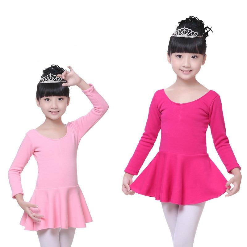 ballerina gymnastics leotard for girls ballet dress kids competition long sleeve cotton dance children dresses skirts costumes