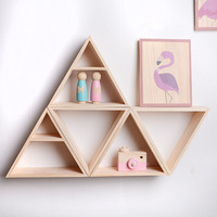 1pcs Triangle Wooden Floating Shelf Storage Display Book Shelf For Bedroom Living Room Kitchen Office Children House Decoration