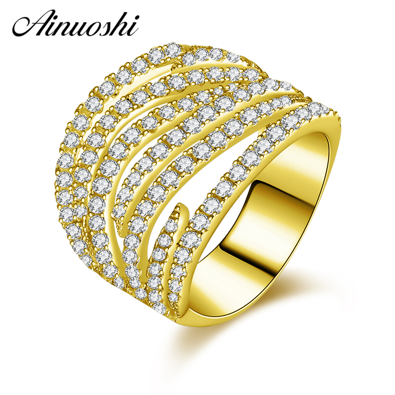 AINUOSHI 10K Solid Yellow Gold Hollow Lines Wedding Band Cluster Bending Ring Bridal Ring Engagement Ring Jewelry for Women Male punk style solid color hollow out ring for women