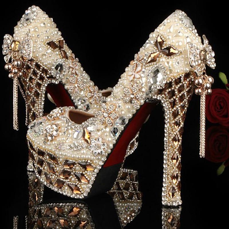 Gorgeous Jeweled Beaded Women High Heels Shoes Luxury Rhinestone Crystal Wedding Bridal Dress Shoe Evening Prom Party Shoes pearl phoenix bride dress shoes gorgeous design rhinestone wedding shoes party prom high heels purple white prom event shoes