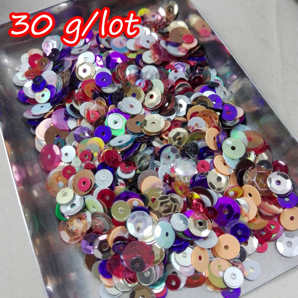30G/lot Color mixing Mixed size 4-8mm Round Concave Cup Spangle Sequins Paillettes Sewing Flat Back Crafts Clothing Supplies