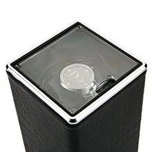 Автоматический поворот смотреть winder Дисплей коробка прозрачная крышка для хранения ювелирных изделий Организатор США Plug Caixa де relogios часы намотки