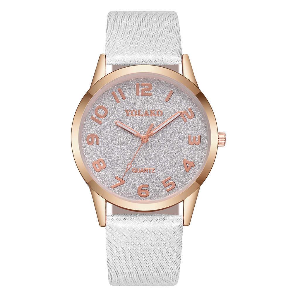 2019 Модные женские арабские цифры Круглый циферблат лента, сиденье из искусственной кожи аналоговые кварцевые часы