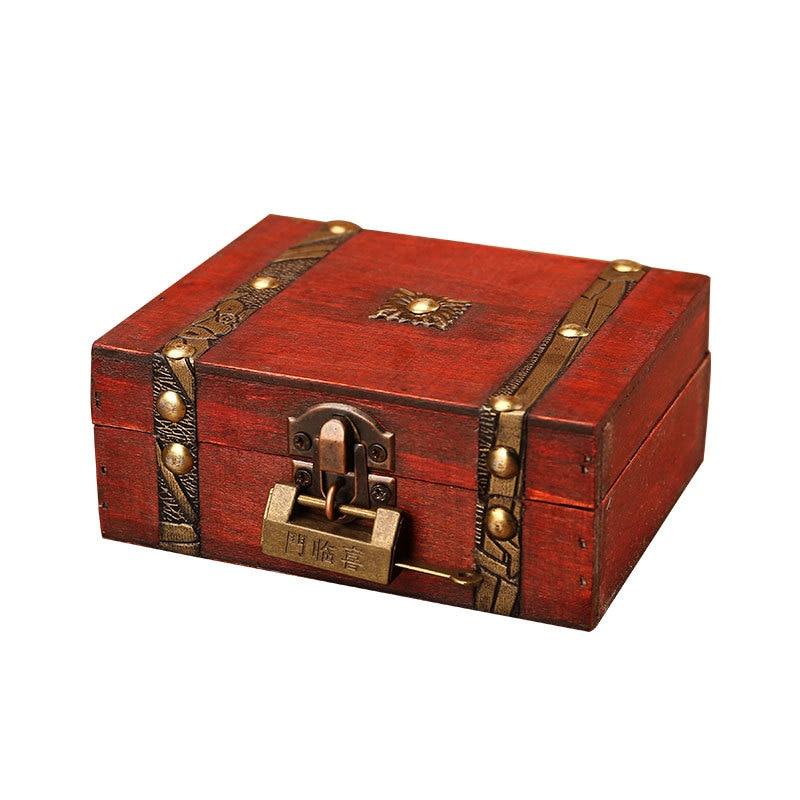 Trä förvaringslåda vintage stil Metal Lock låda för smycken och - Hemlagring och organisation