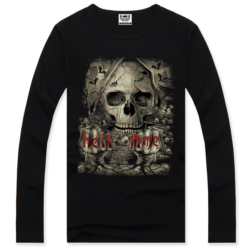 Skeleton Long Sleeve Anime 3D Full Print Fashion Men T-shirt Cotton O-neck Totem Summer T Shirt Casual Funny Personalized A1118
