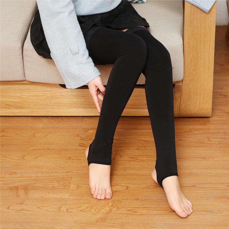 Women Winter  Nylon Slim Warm Fleece Inside  Black Long Knee Sleeves