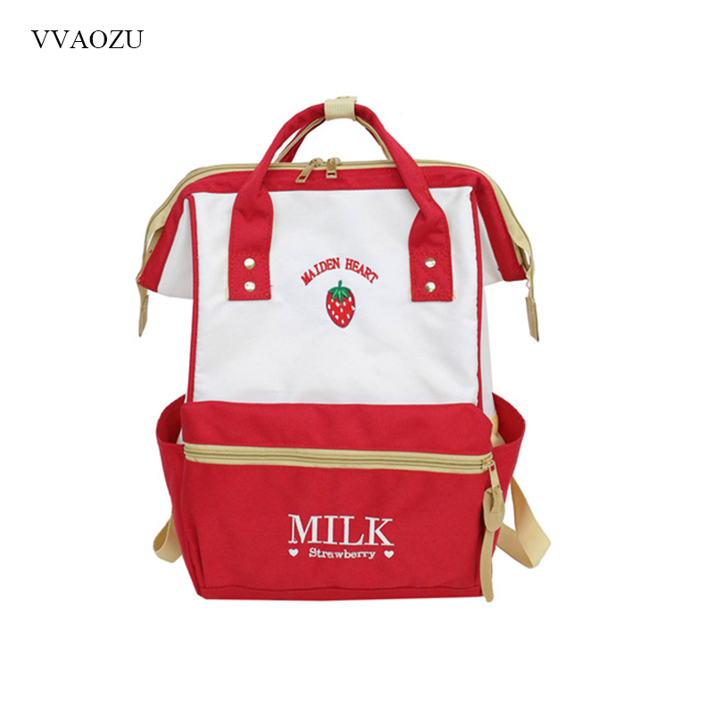 Japanese Style Backpack Harajuku Cute School Backpacks For Teenage Girls Kawaii Strawberry Clip Laptop Back Pack School Bag