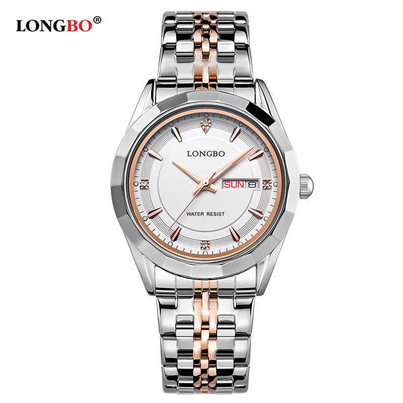 0d05feb94ab9 LONGBO бренд Movt повседневные часы для женщин нержавеющая сталь назад  водостойкий Datejust для мужчин наручные часы