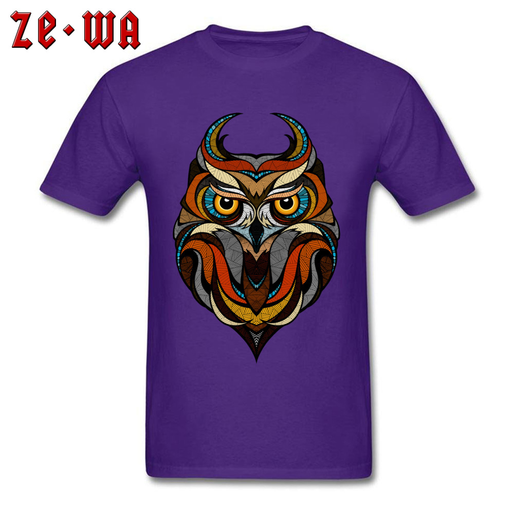 Customized Decorative Owl Mens T-Shirt 2018 Summer Short Sleeve Crewneck 100% Cotton Tops T Shirt Printing Tops T Shirt Decorative Owl  purple