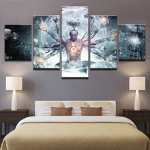 Modern Canvas HD Prints Pictures Wall Art 5 Pieces Buddha Art Yoga Painting Tree Abstract Meditation Poster Home Decor Framework(China)